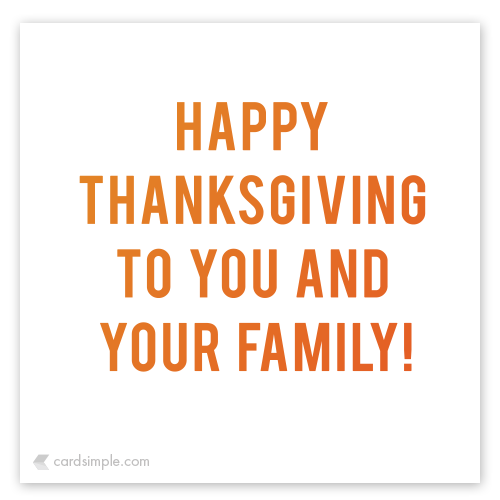to you and your family!